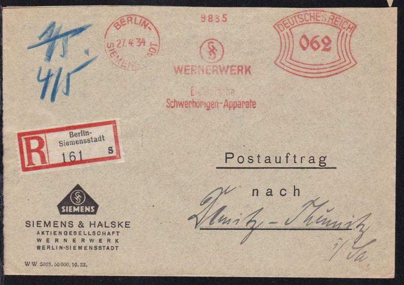 Berlin Absenderfreistempel BERLIN-SIEMENSSTADT 27.4.34 WERNERWERK
