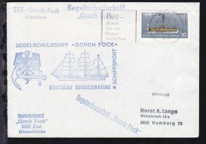 OSt. Kiel 8.12.75 + Cachets SSS Gorch Fock auf Brief