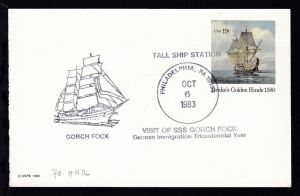 OSt. Philadelphia OCT 6 19783 + Cachet SSS Gorch Fock auf US-Ganzsache