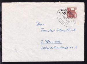 HAGEN (WESTF)-KASSEL BAHNPOST ZUG 0550 13.12.65 auf Brief