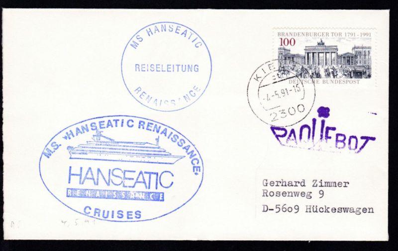 L1 PAQUEBOT + OSt. Kiel 4.5.91 + Cachet MS Hanseatic Renaissance auf Brief