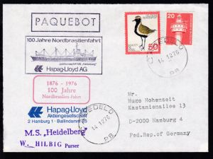 R1 PAQUEBOT + OSt. Cabedelo 14.12.76 + Cachets 100 Jahre Nordbrasilienfahrt +