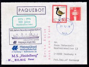 R1 PAQUEBOT + OSt. Sao Luis 21.12.76 + Cachets 100 Jahre Nordbrasilienfahrt +