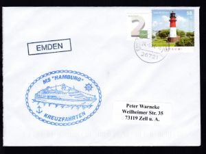 OSt. Emden 24.5.14 + R1 EMDEN + Cachet MS Hamburg auf Brief