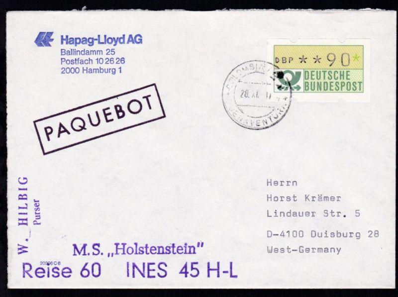 R1 PAQUEBOT + OSt. Buenaventura 20.XI.?? + Cachet MS Holstenstein auf
