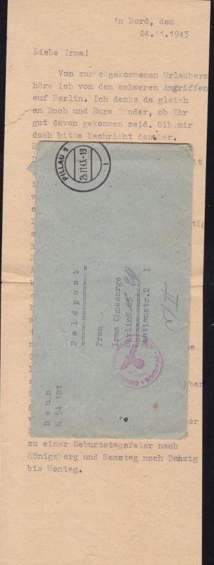 OSt. Pillau 1 25.11.43 + K1 Dienststelle Feldpostnummer M 10237 Briefstempel