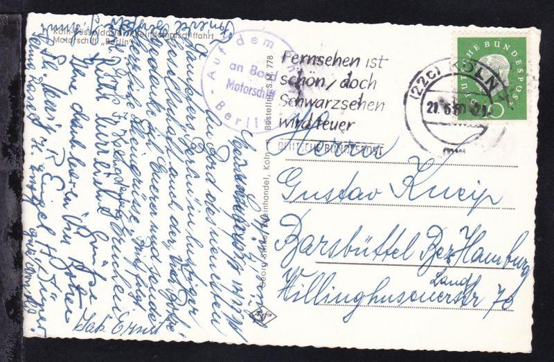 OSt. Köln 21.6.61 + K1 Auf dem Rhein an Bord Motorschiff Berlin auf AK
