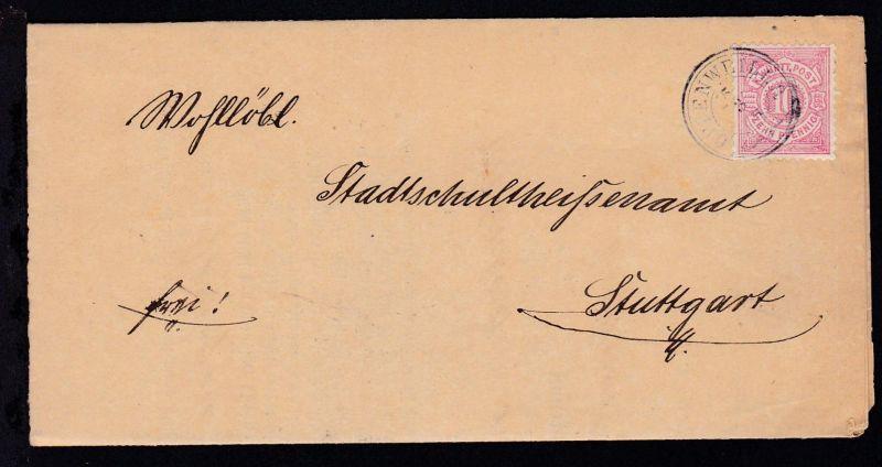 Ziffer 10 Pfg. auf Brief mit K3 OPPENWEILER 3.8.84 nach Stuttgart