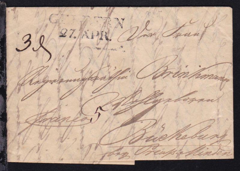 Geldern 1825 L2 GELDERN 27. APR auf Brief nach Bückeburg