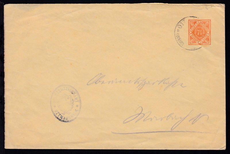 Ziffer 7½ Pfg. mit K1 OTTMARSHEIM  (WÜRTT.) (Datum nicht lesbar) als Dienstbrief
