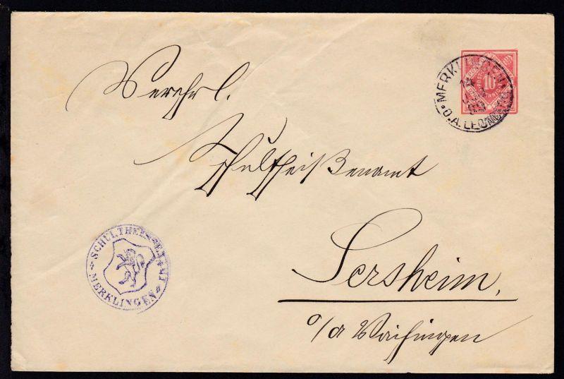 Ziffer 10 Pfg. mit K1 MERKLINGEN O.A. LEONBERG 14 JUN 99 als Dienstbrief des