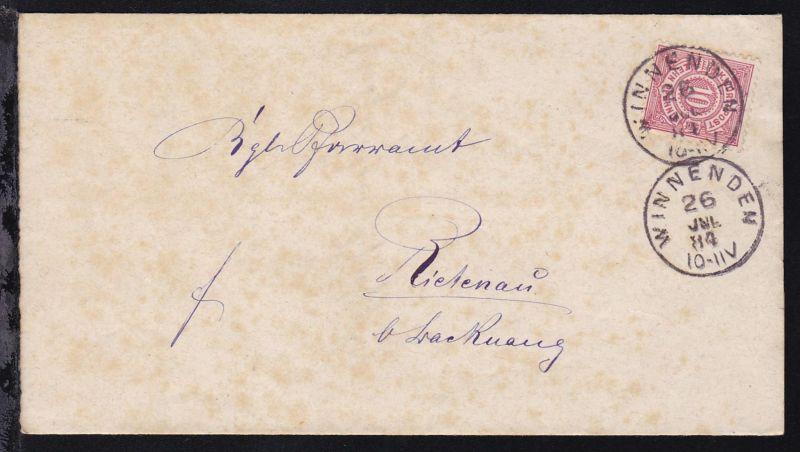 Ziffer 10 Pfg. auf Brief mit K1 WINNENDEN 26 JUL 84 nach Rietenau b. Backnang