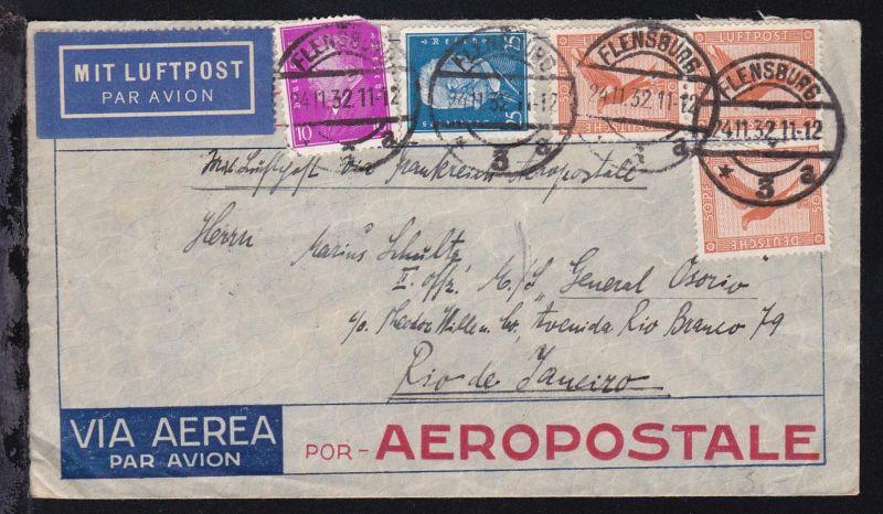 Luftpostbrief ab Flensburg 24.11.32 an den II. Offizier MS
