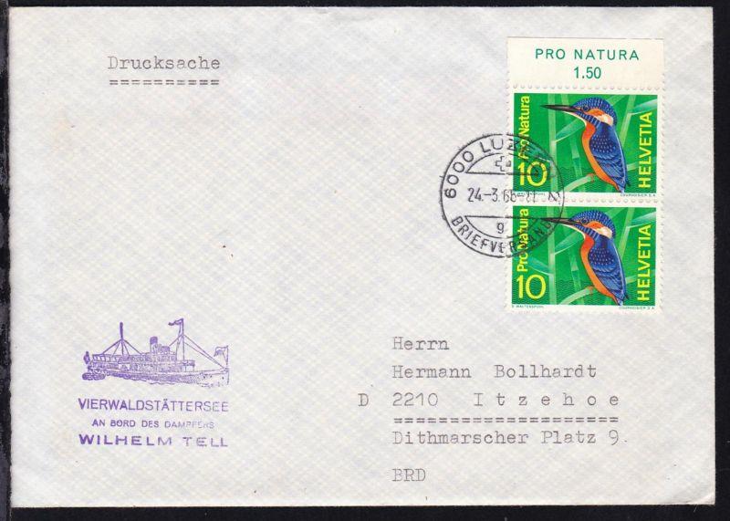 OSt. Luzern 24.3.66 + Cachet Vierwaldstättersee Dampfer Wilhelm Tell auf Brief