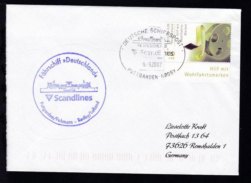 DEUTSCHE SCHIFFSPOST FS DEUTSCHLAND Scandlines PUTTGARDEN-RÖDBY 6.5.2002 +