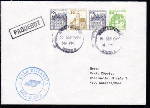 R1 PAQUEBOT + undeutl. OSt. 15 SEP 1989 + K2 OLAU BRITANNIA CHIEF PURSER