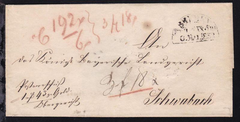 Bremen BREMEN F.TH. u. TX. O.P.A. 6. MAI 1853 auf Briefhülle(Postvorschuß)