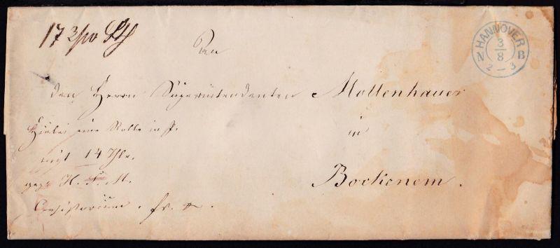 Hannover 1866 K2 HANNOVER N B 3.8. auf Dienstbrief des Königl. Consistorium zu
