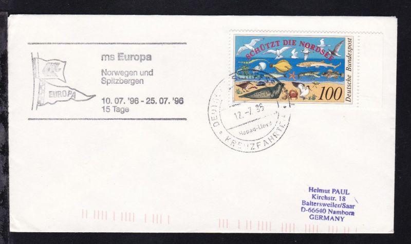 DEUTSCHE SCHIFFSPOST ms Europa Hapag-Lloyd KREUZFAHRTEN 12.7.96 + Cachet
