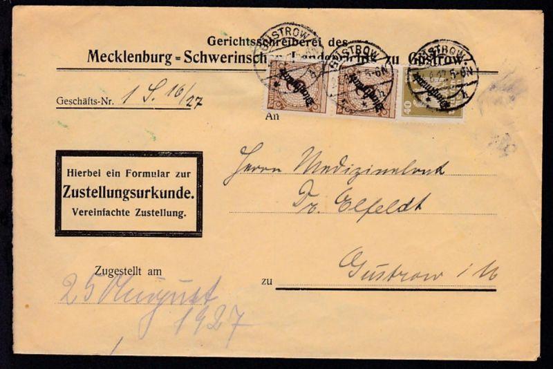 Korbdeckel 3 Pfg. mit Aufdruck Dienstmarke (senkr. Paar) und Adler 40 Pfg.