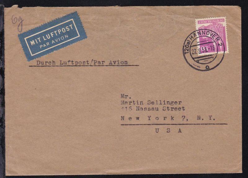 Bauten 90 Pfg. auf Luftpostbrief ab Hannover 27.8.51 nach New York/USA,