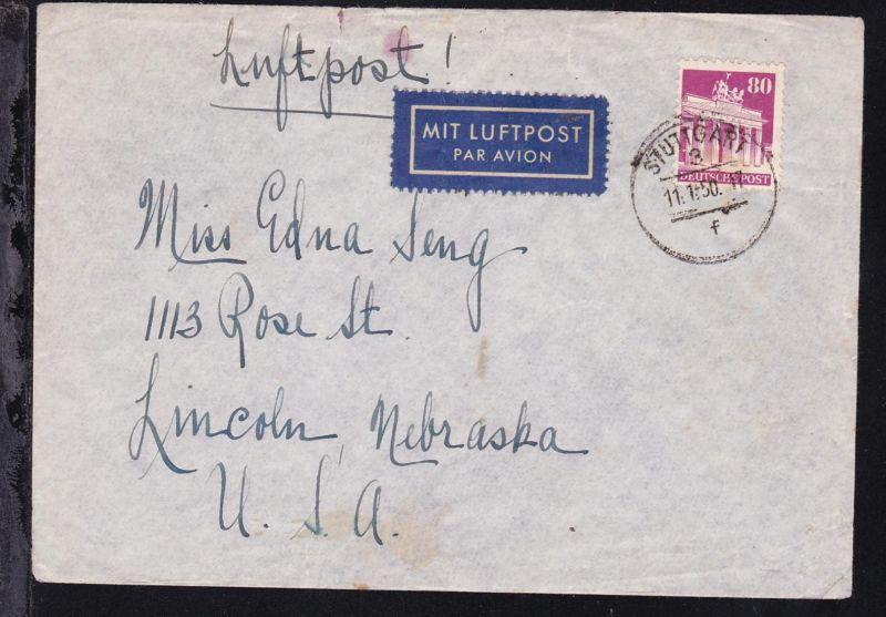 Bauten 80 Pfg. auf Luftpostbrief ab Stuttgart 11.1.50 nach Lincoln/USA