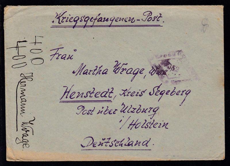 UdSSR Lager 7289/I Kriegsgefangenenbrief nach Henstedt Kreis Segeberg