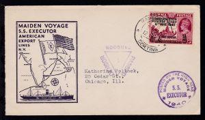 OSt. Rangoon 2 Jan 41 + Cachets Jungfernfahrt SS Executor auf Brief