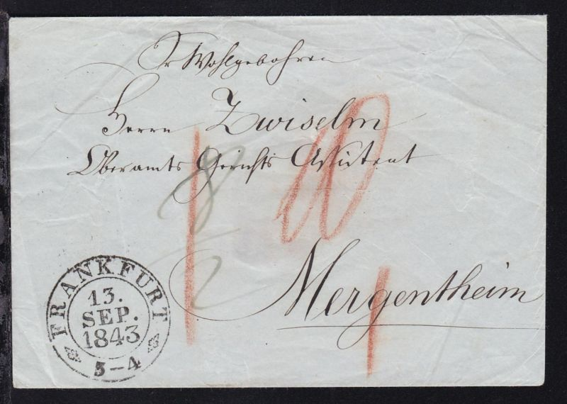 Frankfurt K2 FRANKFURT 13. SEP. 1843 auf Brief nach Mergentheim