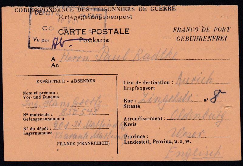 1946 Lager 901 St. Martin/Frankreich Kriegsgefangenenkarte nach Aurich