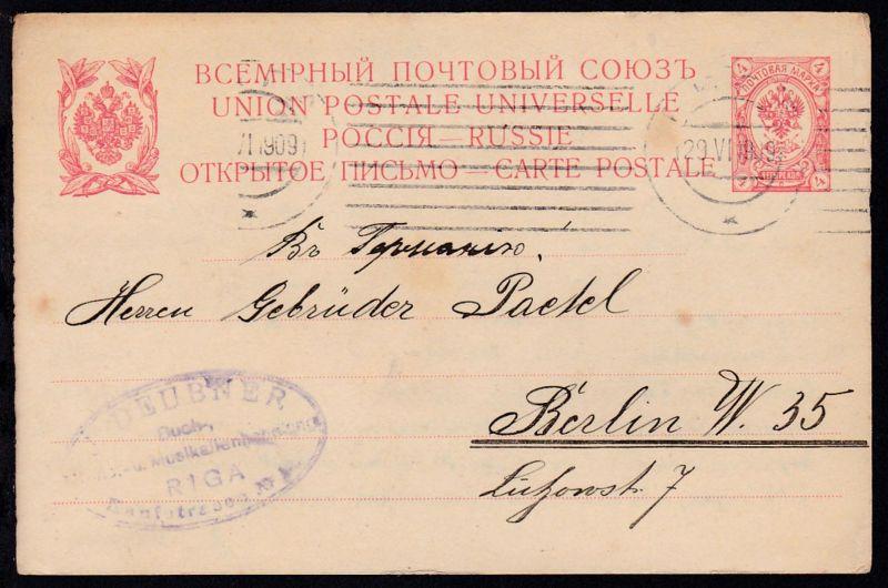 Wappen 3 K. als Firmenpostkarte (J. Deubner, Riga) ab Riga 29.VI.1909