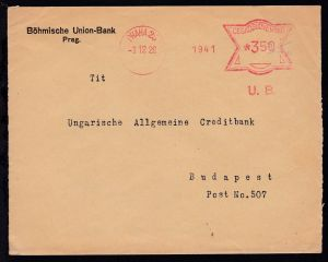 Freistempel PRAHA 25 3.12.26 1941 U.B. CESKOSLOVENSKO 350 auf Brief der