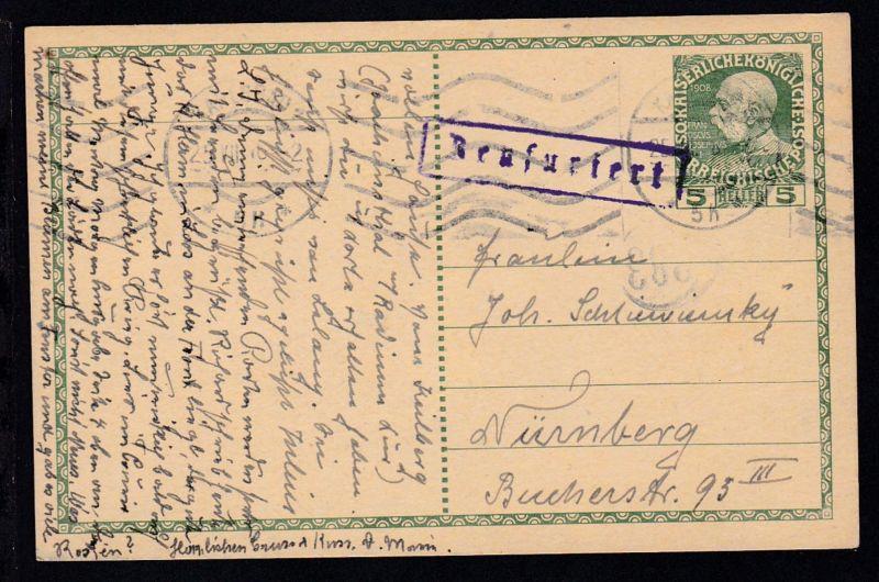Regierungsjubiläum 5 H. ab Karlsbad 25.VII.16 nach Nürnberg mit R1 Zensuriert