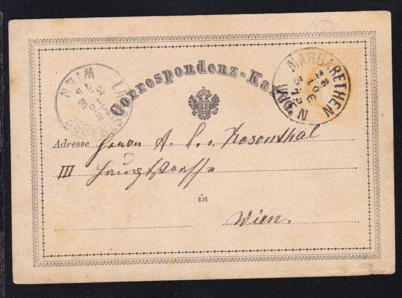 Kaiser Franz Joseph 2 Kr. ab Wien margarethen 28.10.75 nach Wien Landstrasse