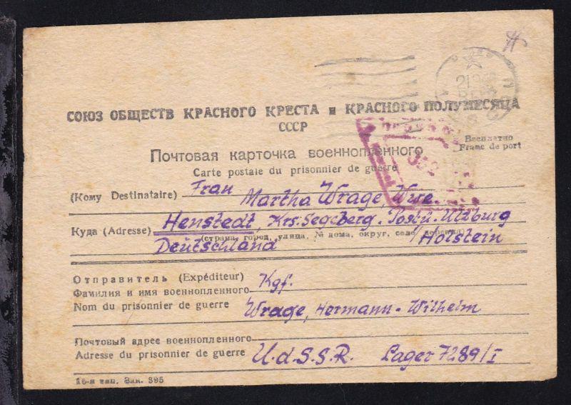 1948 Lager 7289/I UdSSR Kriegsgefangenenkarte nach Henstedt Kr. Segeberg