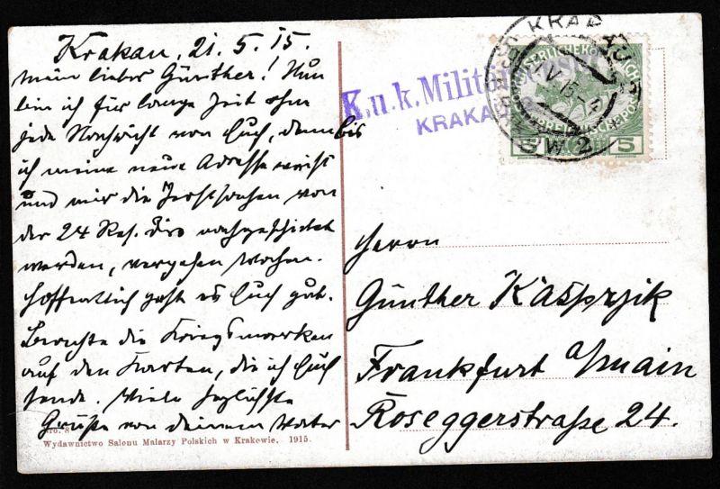 2. Kriegs-Wohltätigkeits-Ausgabe 5+2 H. auf CAK (Krakau Bastei und Florianertor)
