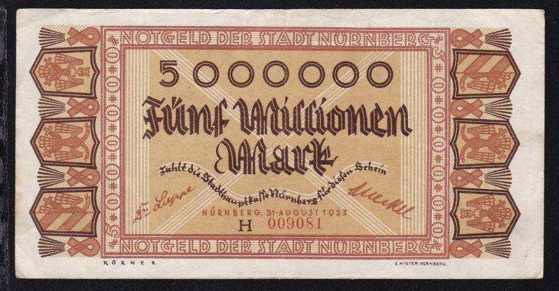 1923 Notgeld der Stadt Nürnberg 5 Millionen Mark