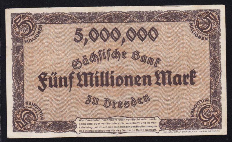 1923 Sächsische Bank Dresden 5 Millionen Mark