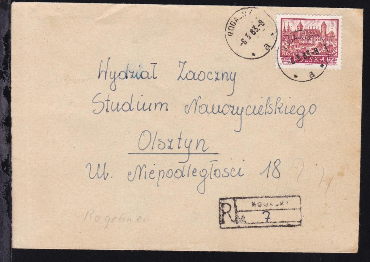 Historische Städte 1.55 Zl. auf R-Brief ab Rogajny 6.3.63 nach Olsztyn