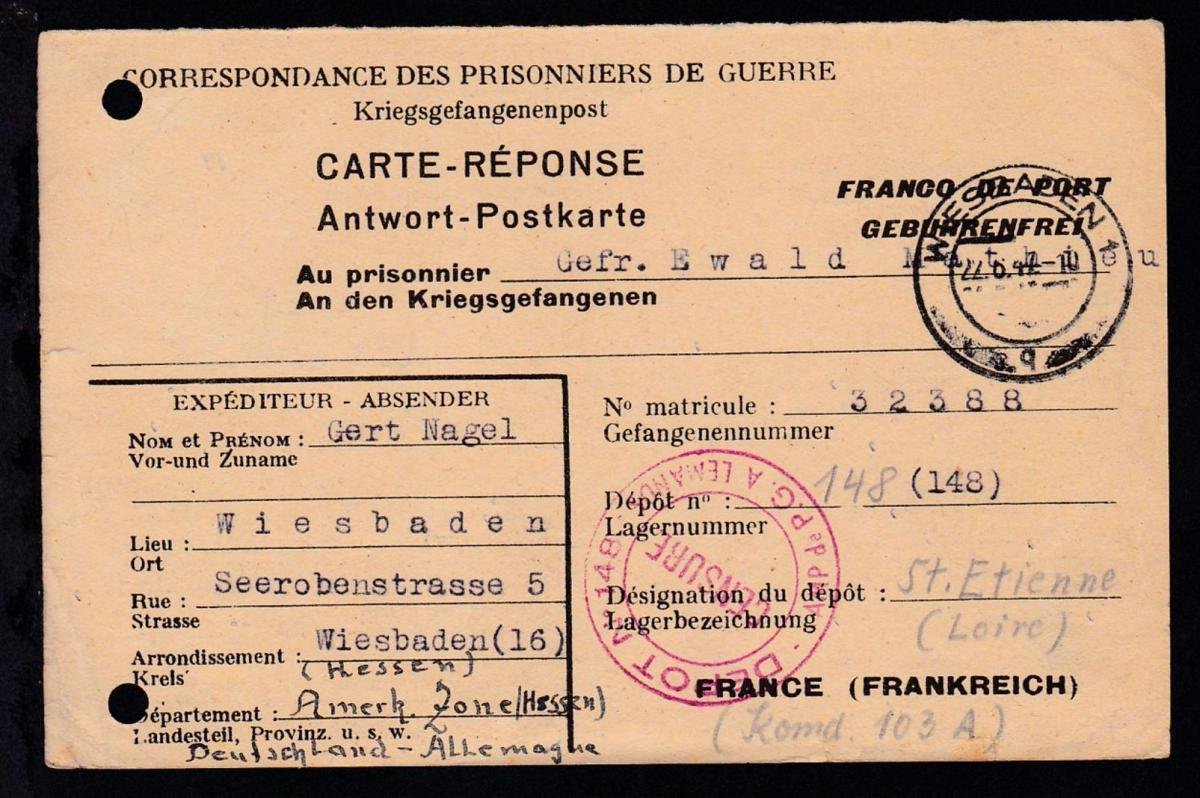 1947 Kriegsgefangenenkarte ab Wiesbaden an Lager 148 St. Etienne/Frankreich,