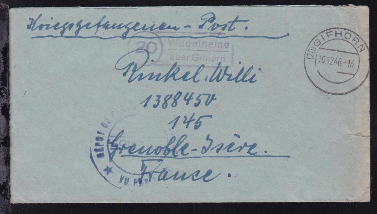 OSt. Gifhorn 10.12.46 + R2 20 Wedelheine über Gifhorn auf Kriegsgefangenenbrief