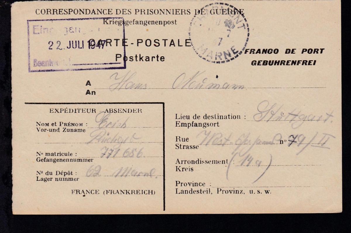 1947 Lager 69 Marne/Frankreich Kriegsgefangenenkarte nach Stuttgart