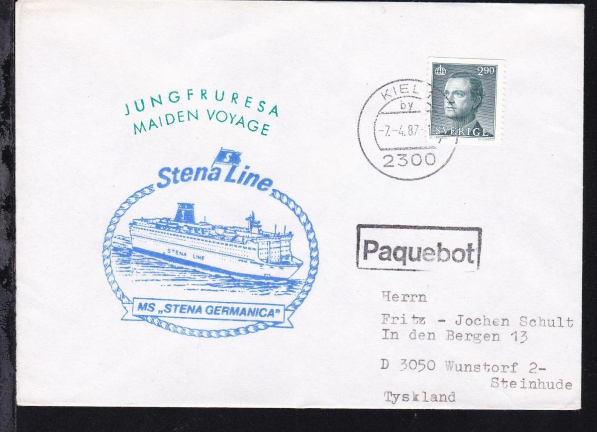 R1 Paquebot + OSt. Kiel 7.4.87 + Cachet Jungfernreise MS Stena Germanica 0