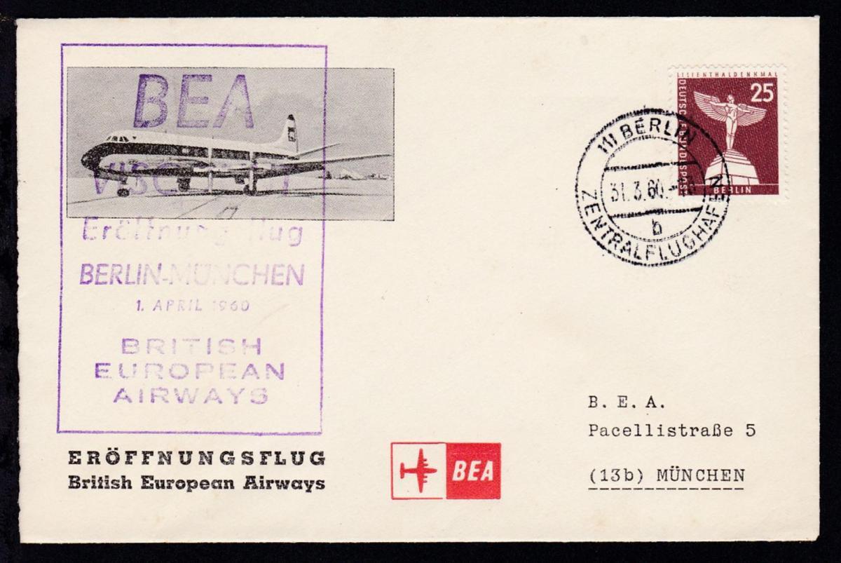 BEA-Erstflugbrief Berlin-München 1.4.1960 0
