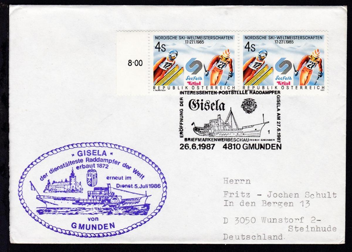 ERÖFFNUNG DER INTERESSENTEN-POSTSTELLE RADDAMPFER GISELA AM 27.6.1987