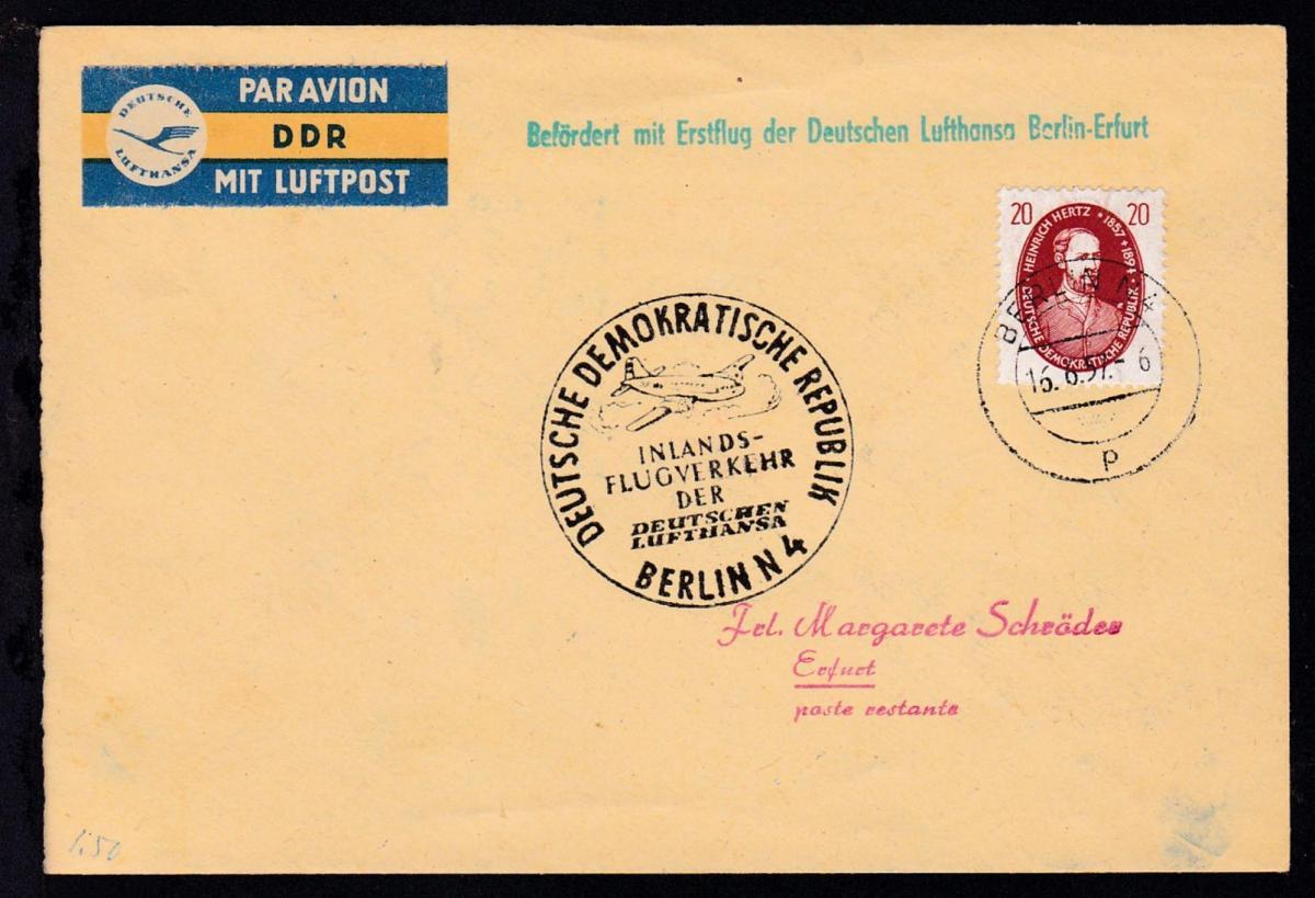 Lufthansa-Erstflugbrief Berlin-Erfurt 16.6.1957