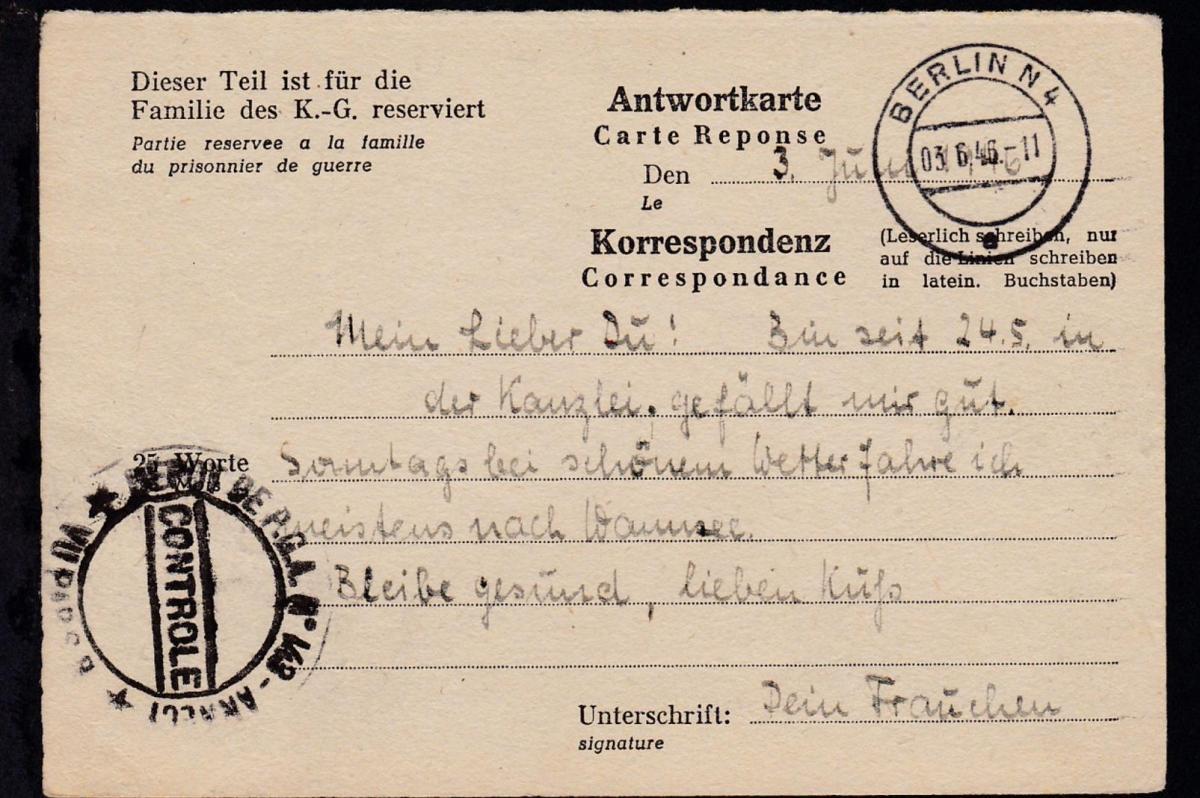 1946 Kriegsgefangenenkarte ab Berlin an Lager 143 Annecy/Frankreich 1
