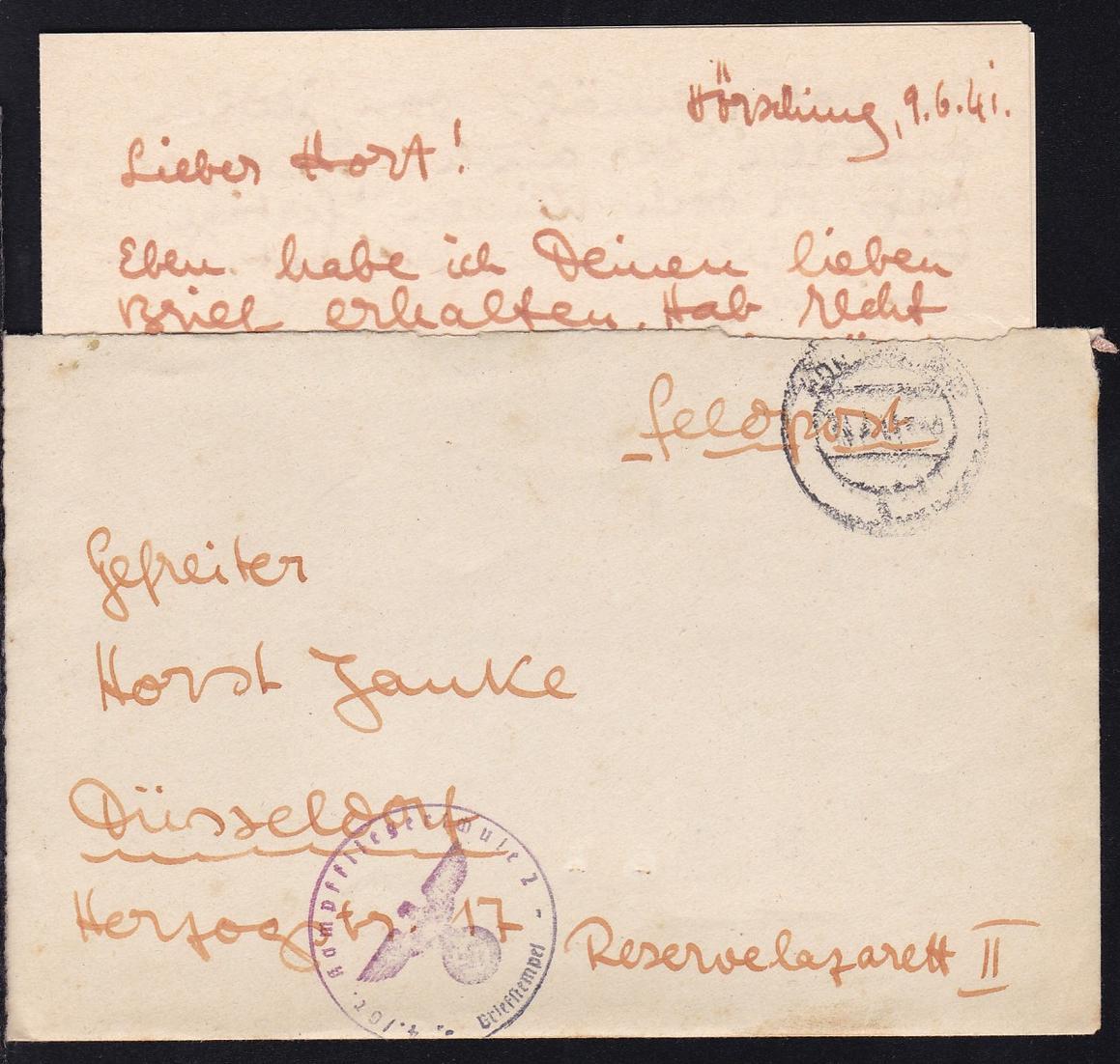 1941 OSt. Hörsching und K1 4./Gr. Kampffliegerschule 2 Briefstempel auf 0