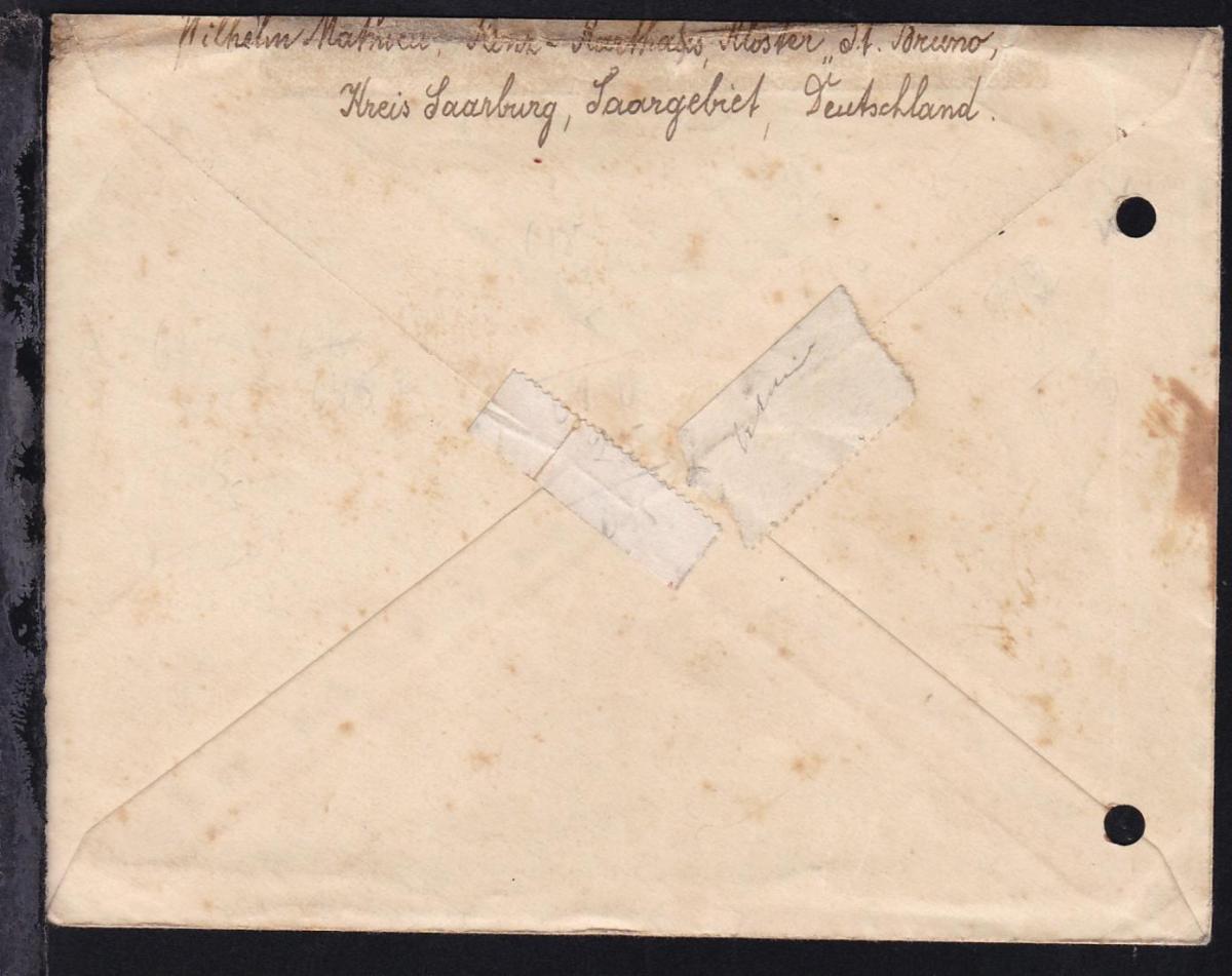 1947 Kriegsgefangenenbrief ab Konz (Bz. Trier) an Lager 148 St. Etienne/
