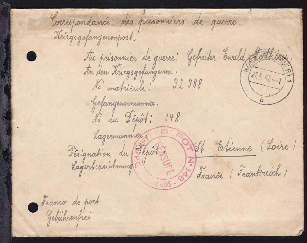 1947 Kriegsgefangenenbrief ab Konz (Bz. Trier) an Lager 148 St. Etienne/ 1